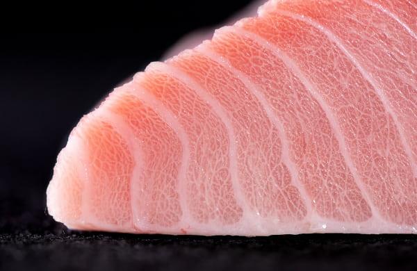 Close-up image of sliced tuna