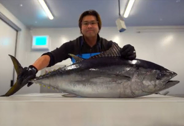 Man holding a Whole tuna