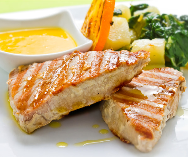 Bluefin Tuna Steak on Chargrilled Vegetables