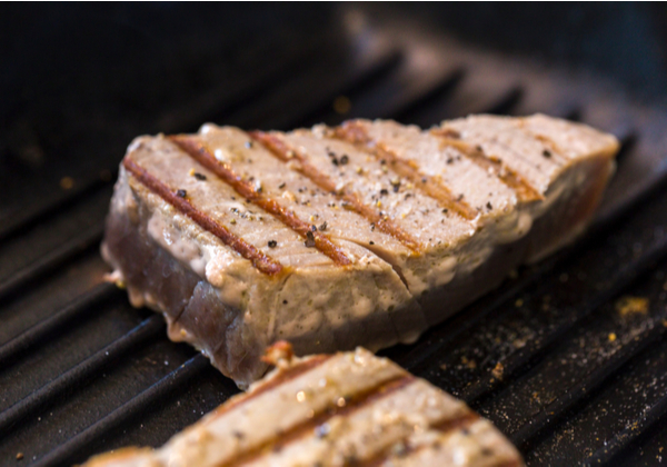 Close up of chargrilled tuna steaks cooking in a griddle pan