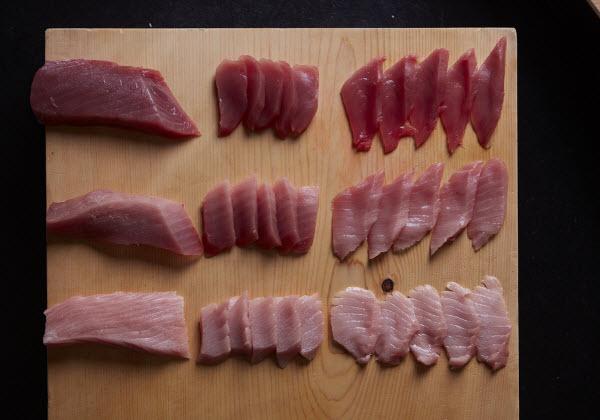 Sliced Tuna Sashimi on a wooden board