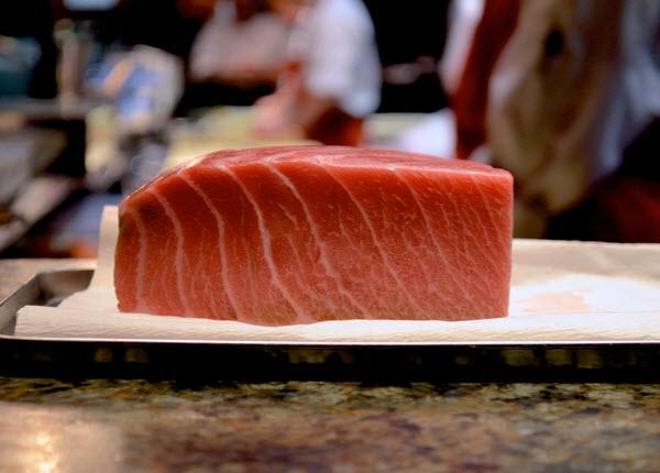 Sliced Bluefin Tuna placed on a plate