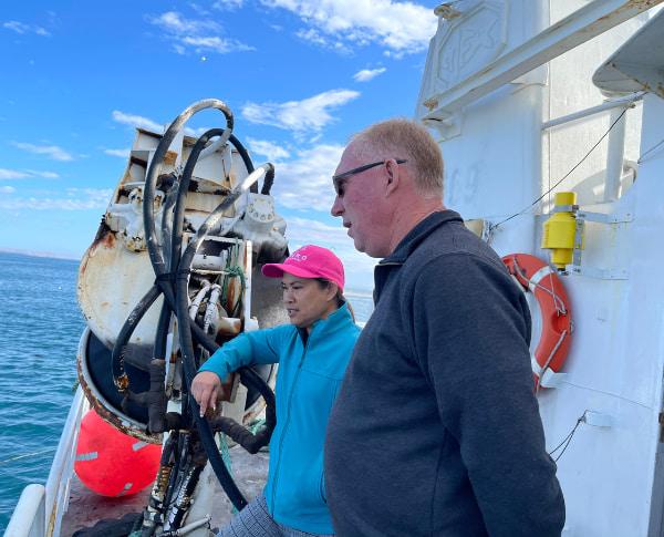 Man and woman at the ship